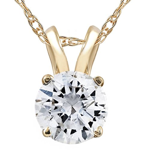 1/2ct Yellow Gold Round Diamond Solitaire Pendant 14K (1/2 Carat Diamond 14k)