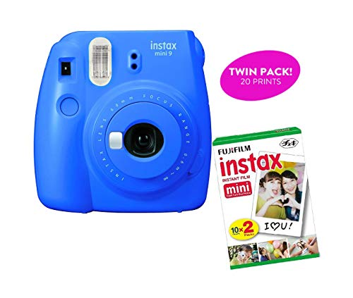 Fujifilm Instax Mini 9 Instant Print Camera(Certified Refurbished) Plus Twin Pack Film Starter Bundle | 10 Sheets x 2 = 20 White Frame Instant Exposure Photograph Sheets (Cobalt Blue)