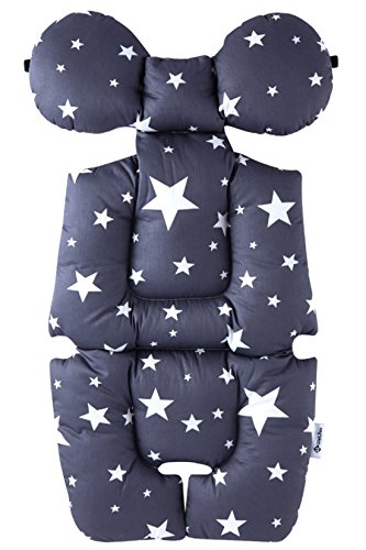 (Baby Breathable 3D Air Mesh Organic Cotton Seat Pad Liner for Stroller & Car Seat Stardream Grey)