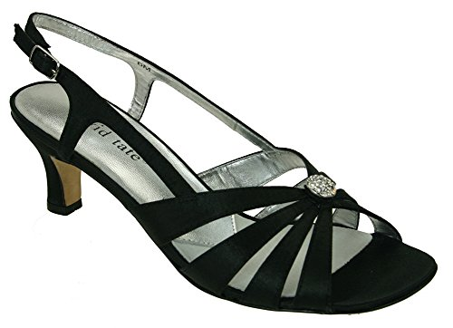 osette Evening Sandal,Black Satin,9.5 WW US ()
