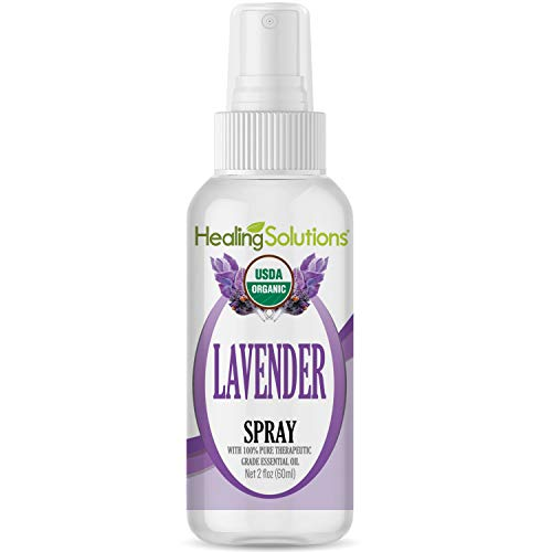 Organic Lavender Spray - Made from 100% Pure Lavender Essential Oil - Certified USDA Organic - 2oz Bottle by Healing -