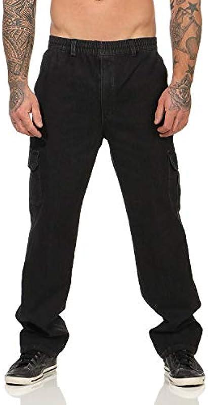 ZARMEXX męskie dżinsy dresowe, spodnie rekreacyjne, spodnie do joggingu, odzież robocza, z gumowym ściągaczem, spodnie cargo, strecz: Odzież