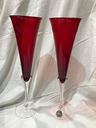 Holiday Gems Ruby - Vintage Set of Lenox Holiday Gems Ruby Red Holly Berry Champagne Flutes