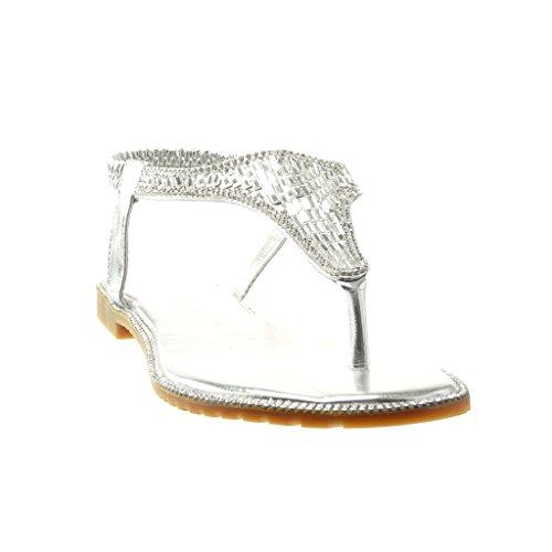 Angkorly - damen Schuhe Sandalen Flip-Flops - T-Spange - Schmuck - Strass Blockabsatz 1 CM - Silber
