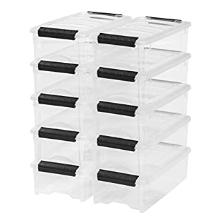 IRIS USA TB-35 Stack and Pull Storage Box, 5 Quart, Clear, 10 Count