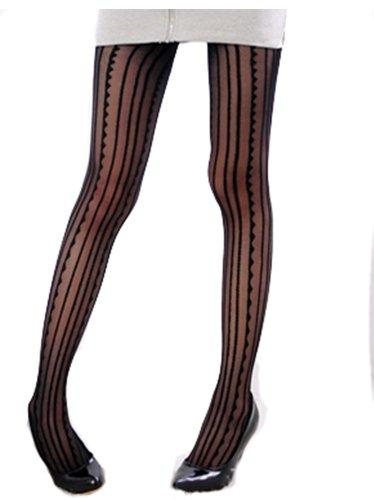 Black Funky Stripes waves Print Sheer Tights XS ~ M (Mardi Gras Fashion)