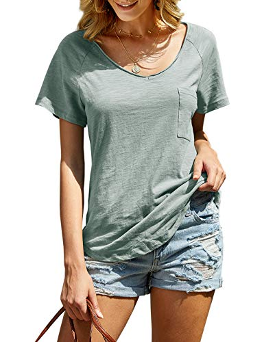imesrun Womens Soft Cotton Summer Tops V Neck Short Sleeve T Shirts Loose Casual Blouses Army Green Large