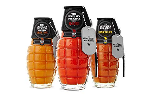 The Generals Hot Sauce Heat Seeker: Three 6 oz Bottles of Gourmet Hot Sauce Made With American-Grown Cayenne and Habanero Peppers. Dead Red/Danger Close/Shock & Awe