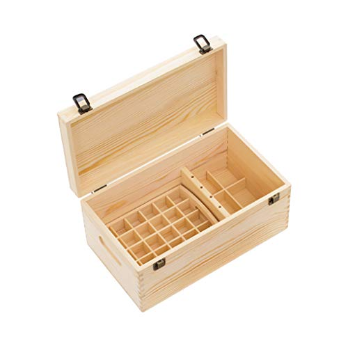 (Cosmetic Display Cases Essential Oil Box High-Grade Essential Oil Box Storage Box Double Essential Oil Box Pine Wood Lattice Simple Creative Storage Box)