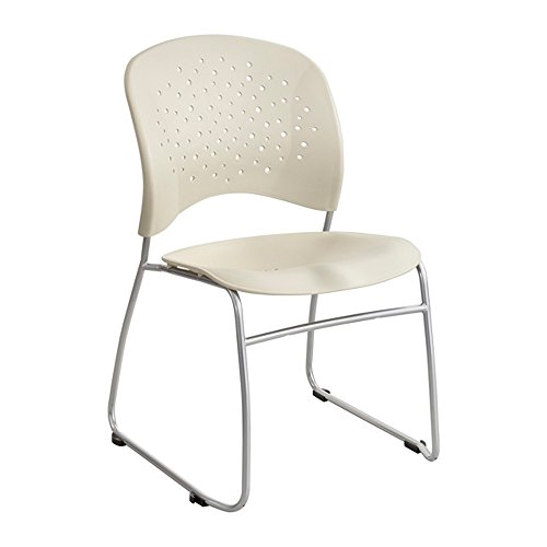 (Rêve Series Guest Chair With Sled Base, Latte Plastic, Silver Steel, 2/CT)