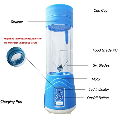 Lovep Portable Personal Blenders, Smoothie Blender USB Rechargeable Juicer Cup Household Fruit Mixer,Food Grade PC+Food Grade Rubber Seal with Powerful Motor, Water Bottle by Lovep (Image #1)