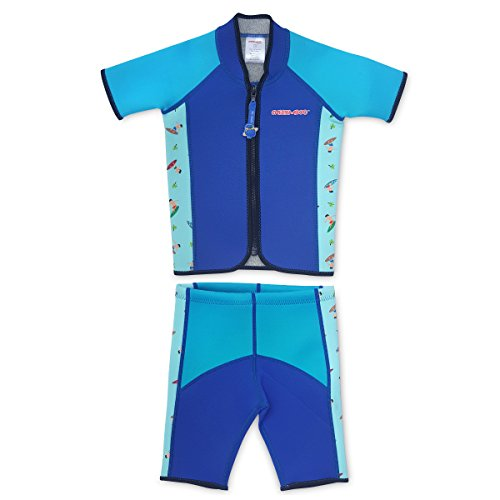 Cheekaaboo Twinwets Kids Two Piece UV Protection Thermal Swimsuit for Boys and Girls, 6-8 Years, Blue