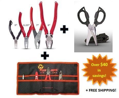 VamPLIERS. World's Best Pliers! 4-PC Set S4ATG + Tool Pouch & Super Combo Scissors by Vampire Professional Tools International