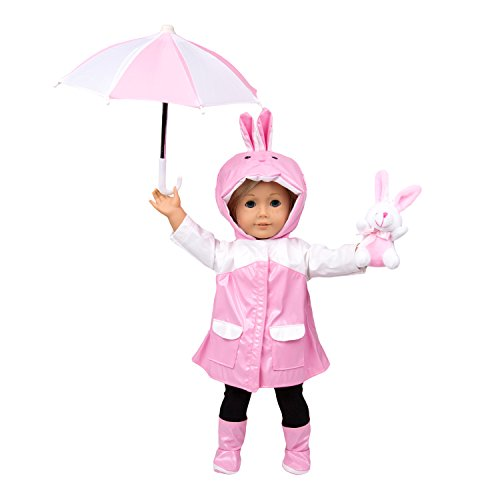 Dress Along Dolly Rain Coat Outfit Doll Clothes for American Girl Dolls: - Bunny Rain Date Includes Raincoat, Umbrella, Boots, and Best Friend Bunny (American Girl Doll Pets Bunny)