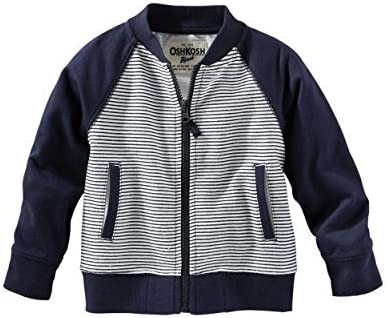 OshKosh BGosh Baby Girls Reverse French Terry Bomber Jacket; Navy 18 Months