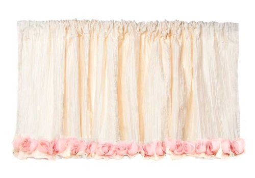 Glenna Jean Victoria Valance, Ivory Crinkle with Roses, 96 x 21
