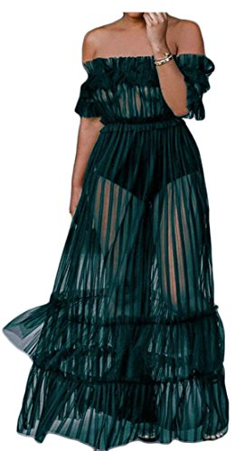 Femmes Cromoncent Maille Sexy Club De Balançoire Transparent Épaule Robes Plissé Vert
