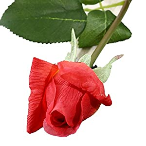 Miao Express 10pcs 11pcs/Lot Latex Rose Artificial Flowers Real Touch Rose Flowers for New Year Home Wedding Decoration Party Birthday Gift,C Light red 3,10pcs 46