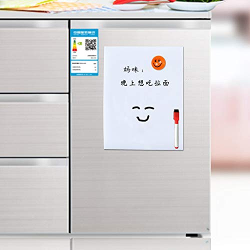 Soft Magnetic Whiteboard, A3 Reminder Fridge Magnetic Whiteboard Family Message Board Office Memo with Pen (White)
