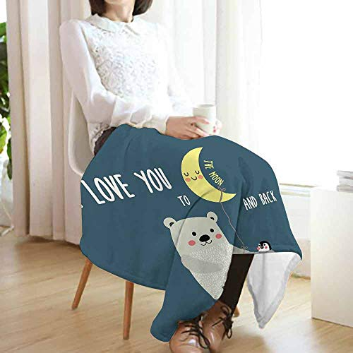 I Love You Fashion Throw Blanket,Teddy Bear and Penguin Friends Arctic Valentines Under Moon Cartoon Fuzzy Blanket for Bed Couch(60