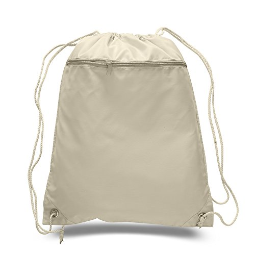 50 PACK - Multipurpose Polyester Drawstring Backpack Bags BULK with Front Zipper Pocket - School Bags Event Tradeshow bags Charity Donation Wholesale Cheap Drawstring Backpacks (Natural) by BagzDepot