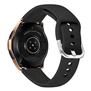 Silicone Band for Samsung Galaxy Watch Active, Sport Wristband, Small & Large Size (Black, Small)