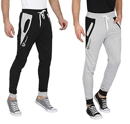 5e835653 VERSATYL Men's Cotton Slim Fit Joggers Track Pants Combo Pack of 2  (Black-Grey