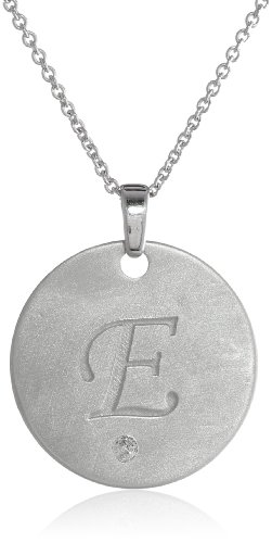 Sterling Silver Diamond Accent 'E' Engraved Letter Pendant Necklace, 18""