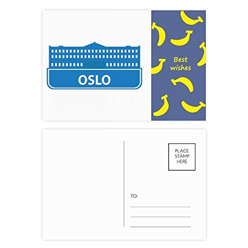 Oslo Norway Blue Landmark Pattern Banana Postcard Set Thanks Card Mailing Side ()