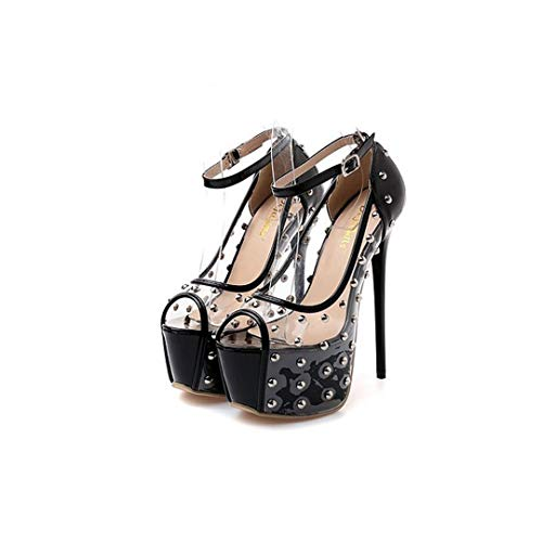 Paris Beauty hot Ladies high Heeled Rock Rivet Studs with Transparent Super high Heels Fetish Shoes,Black,8 -