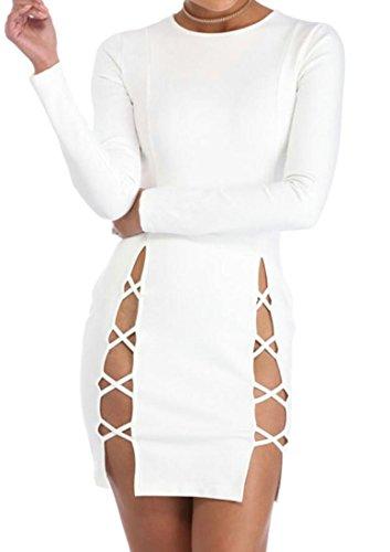 Slim Manica Vestito Fasciatura Domple Mini Donne Club Bianco Partito Aderente Fit Night Lunga xYpqwqA1Z