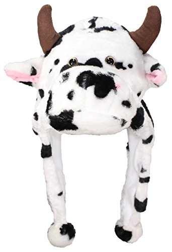 Best Winter Hats Adult/Teen Animal Character Ear Flap Beanie (One Size) - - Cow Beanie