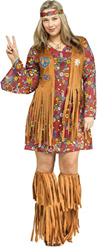 Fun World Women's Size Peace and Love Hippie, Multi, Plus 16W-20W for $<!--$23.99-->