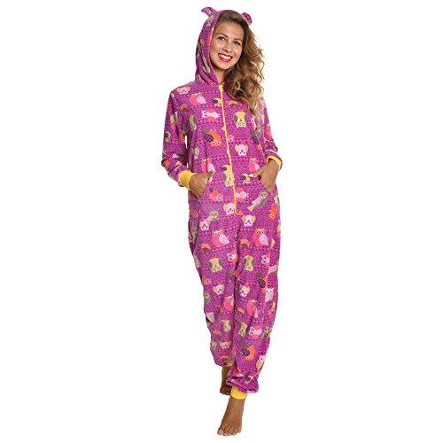 Angelina Women's Fleece Novelty One-Piece Hooded Pajamas, PJ1Z_OWL_SM]()