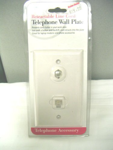 Retractable Line Cord Telephone Wall Plate 279-607