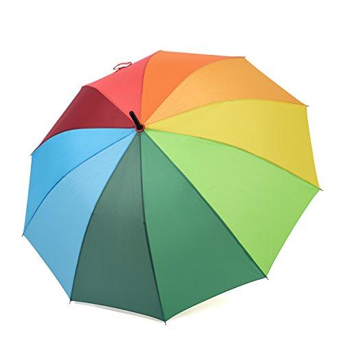 Rainbrace Unisex Regen Regenschirm Lang-Griff Regenbogen Mode Design, Starke Übergroßer Winddicht Draußen Golfschirm mit 10 Rippen