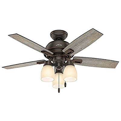 """Hunter 52228 Casual Donegan Three Light Onyx Bengal Ceiling Fan With Light, 44"""""""
