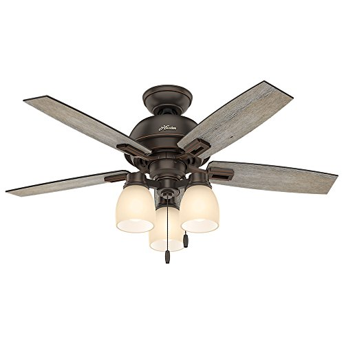 Hunter Fan Company 52228 Casual Donegan Three Light Onyx Bengal Ceiling Fan with Light, (Light Onyx)