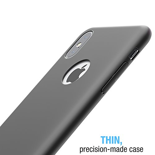 iPhone X case, FlexGear 360 Slim Hard Case w Soft Touch Coating + Glass Screen Protector (Matte Black) Photo #4