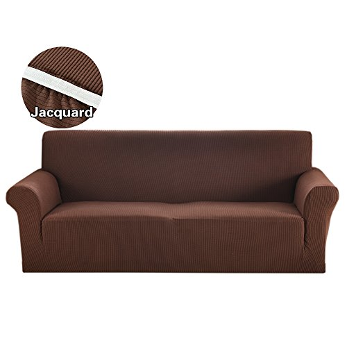 Dark Brown Leather 3 Piece - Argstar Jacquard Cover for Sofa Soft Elastic Brown