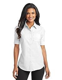 Port Authority Women's Short Sleeve SuperPro Oxford Shirt_Black_X-Small