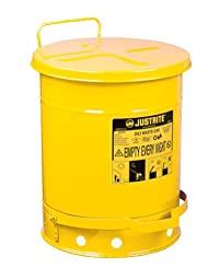 Justrite 09301 10 Gallon, Galvanized-Steel Yellow Safety Cans For Oily Waste