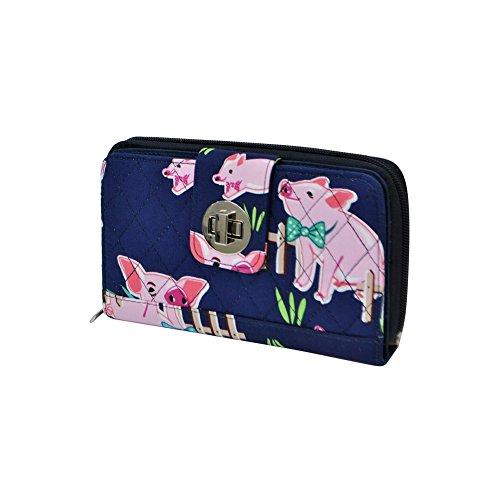 Happy Pig Town Print NGIL Quilted Twist Lock Wallet