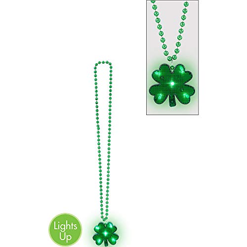 Amscan St. Patrick's Day Green Shamrock Light-Up Pendant Necklace | Party Accessory