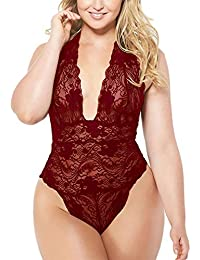 Sexy Plus Size Lace Teddy, Halter Plunging One-Piece...