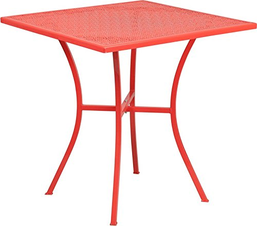 Westbury Square 28'' Coral Steel Table, 28.25''H