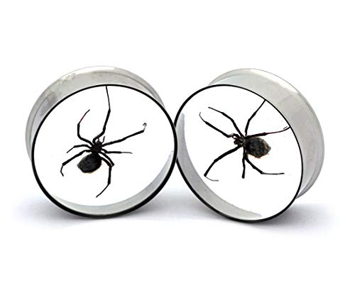Mystic Metals Body Jewelry Embedded Real Black Widow Spider Plugs - Sold As a Pair (1-1/4