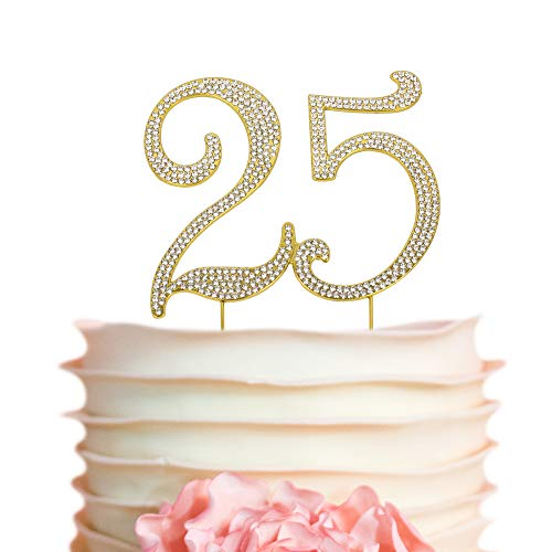 25 GOLD Cake Topper | Premium Bling Crystal Rhinestone Diamond Gems | 25th Birthday or Anniversary Party Decoration Ideas | Quality Metal Alloy | Perfect Keepsake (25 Gold) -