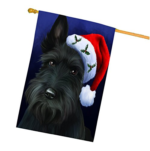 Christmas Scottish Terrier Dog Holiday Portrait with Sant...