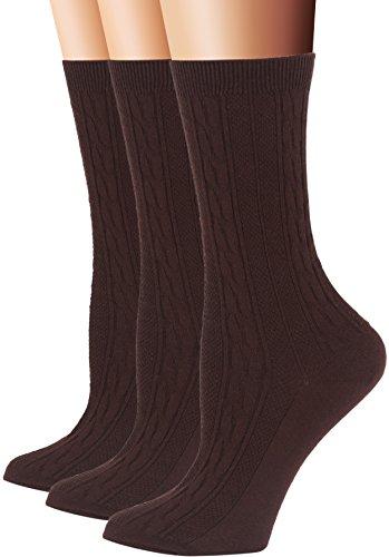 Brown Womens Socks (Flora&Fred Women's 3 Pair Pack Cotton Crew Socks, Shoe: 5-9, Brown)